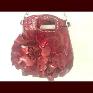 Handbags - Patent Red Flower Satchel